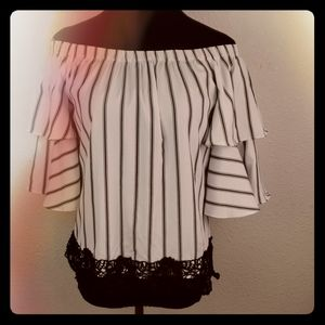 ROOMMATES White Striped Off Shoulder Ruffle Top M